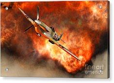 A British Supermarine Spitfire Bursting Acrylic Print by Mark Stevenson
