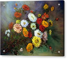 A Bunch Of Flowers Acrylic Print by Laila Awad Jamaleldin