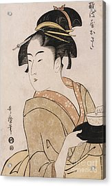 A Bust Portrait Of The Waitress Okita Of The Naniwaya Teahouse Acrylic Print by Kitagawa Utamaro