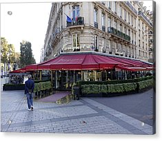 A Cafe On The Champs Elysees In Paris France Acrylic Print