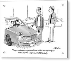 A Car Salesman Gives A Pitch To A Prospective Acrylic Print by Joe Dator