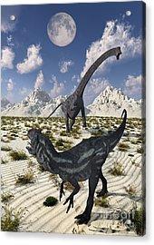 A Carnivorous Allosaurus Confronting Acrylic Print by Mark Stevenson
