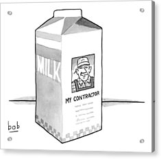 A Carton Of Milk Sits On A Table With A Photo Acrylic Print by Bob Eckstein