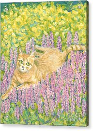 A Cat Lying On Floral Mat Acrylic Print