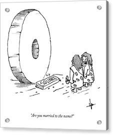 A Caveman Looking Onto The Circular Wheel Another Acrylic Print