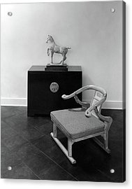 A Chair, Bedside Cabinet And Sculpture Of A Horse Acrylic Print by Haanel Cassidy