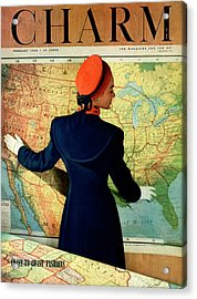 A Charm Cover Of A Model By An American Map Acrylic Print