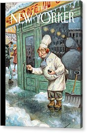 A Chef Lightly Pinches Salt On The Sidewalk Acrylic Print