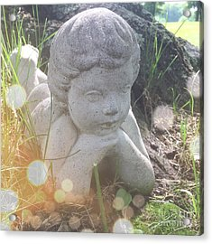 A Cherub Angel In The Grass Acrylic Print by Amy Cicconi