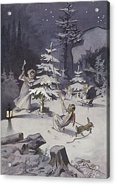 A Cherub Wields An Axe As They Chop Down A Christmas Tree Acrylic Print by French School