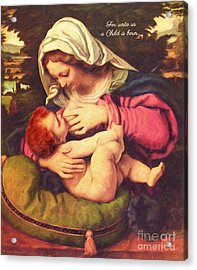 Acrylic Print featuring the digital art A Child Is Born by Lianne Schneider