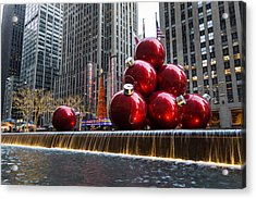 A Christmas Card From New York City - Radio City Music Hall And The Giant Red Balls Acrylic Print by Georgia Mizuleva