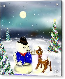 A Christmas Night Acrylic Print by Lori  Lovetere