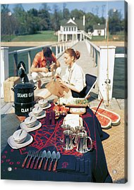 A Clam Bake On A Pier Acrylic Print by John Rawlings