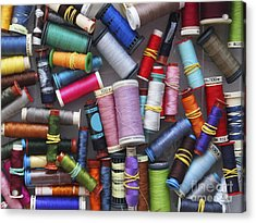 A Close View Of Threads Acrylic Print by Bernard Jaubert