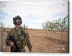 A Coalition Force Member Looks For Air Acrylic Print by Stocktrek Images
