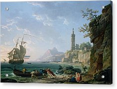 A Coastal Mediterranean Landscape Acrylic Print by Claude Joseph Vernet