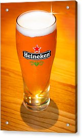 A Cold Refreshing Pint Of Heineken Lager Acrylic Print by Semmick Photo