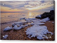 Acrylic Print featuring the photograph A Cold Sandy Hook Winter by Debra Fedchin