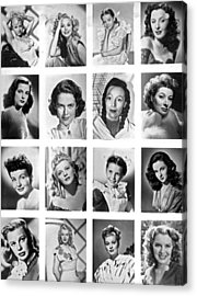 A Collage Of Movie Starlets Portraits Acrylic Print by Underwood Archives