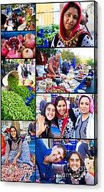 A Collage Of The Fresh Market In Kusadasi Turkey Acrylic Print by David Smith