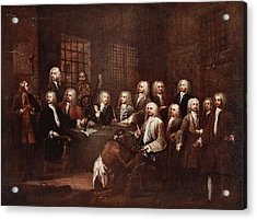 A Committee Of The House Of Commons Acrylic Print by William Hogarth