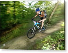 A Competitor Races Through The Woods Acrylic Print