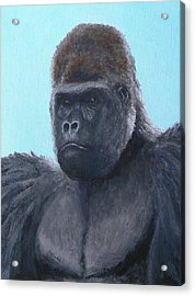 Acrylic Print featuring the painting A Contemplative Gorilla by Margaret Saheed