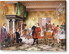A Convivial Meeting Of The Brewers Acrylic Print by Louis Haghe