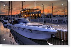 A Cool Motorboat Yacht In Sopot Marina Acrylic Print