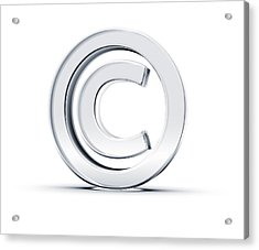 A Copyright Symbol In 3d On A White Background Acrylic Print by Hometowncd