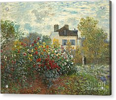 A Corner Of The Garden With Dahlias Acrylic Print by Claude Monet