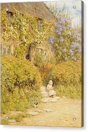 A Cottage Near Crewkerne  Acrylic Print