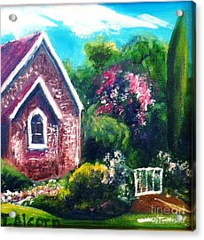 Acrylic Print featuring the painting A Country Church - Original Sold by Therese Alcorn