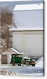 A Country Landscape With Classic Car Acrylic Print by Karen Lee Ensley