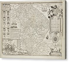 A County Map Of Lincolnshire Acrylic Print by British Library
