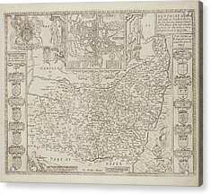 A County Map Of Suffolkcoats Of Arms Acrylic Print by British Library