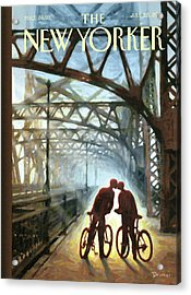 A Couple On Bikes Embrace Under The Fifty-ninth Acrylic Print by Eric Drooker