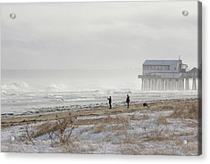 A Couple Walks Their Dog And Takes Acrylic Print