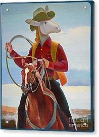 A Cowboy Acrylic Print by Jukka Nopsanen