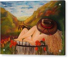 A Cowgirl Bath Acrylic Print