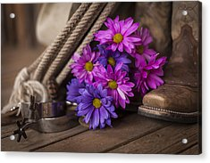 A Cowgirl's Flowers Acrylic Print by Amber Kresge