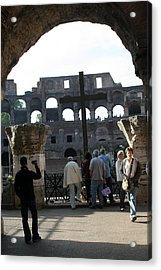 A Cross In The Coloseum Acrylic Print by Dick Willis