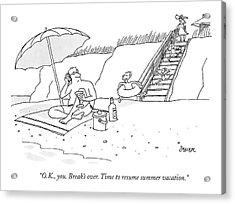 A Dad Seated Beneath An Umbrella At The Beach Acrylic Print
