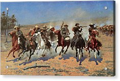 A Dash For The Timbers Acrylic Print by Frederic Remington
