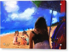 Acrylic Print featuring the painting A Day At The Beach by Ted Azriel