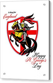 A Day For England Happy St George Day Retro Poster Acrylic Print by Aloysius Patrimonio