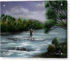 A Day On The Stream - Flyfishing Acrylic Print by Ron Grafe