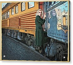 Acrylic Print featuring the drawing A Departure by Meg Shearer