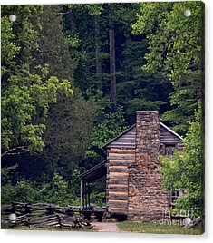 A Different View Of A Mountain Cabin Acrylic Print by Eva Thomas